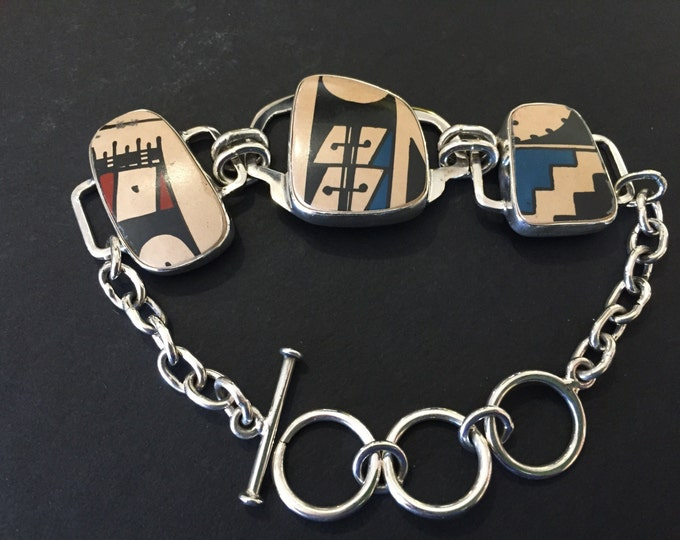 One of a Kind Mata Ortiz Silver Bracelet - 3 Piece - 3 Pottery Shards set in .950 pure silver handcrafted adjustable chain link setting
