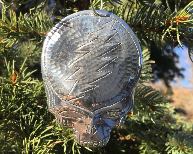 Handcrafted Hammered Polished Aluminum Steal Your Face Christmas Tree Ornament