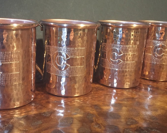 4-pack of 16oz Moscow Mule Copper Mugs, hammered w/ Colorado Flag engraving