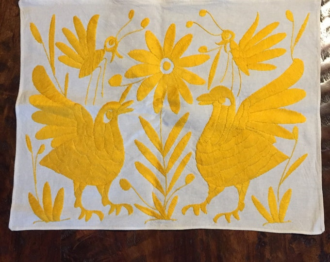 "Hand embroidered Otomí placemat (approx.17"" x 13"") - yellow"