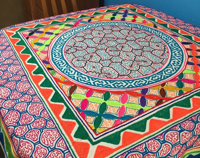 "Peruvian hand embroidered Shipibo tablecloth (approx. 53"" x 58"")"
