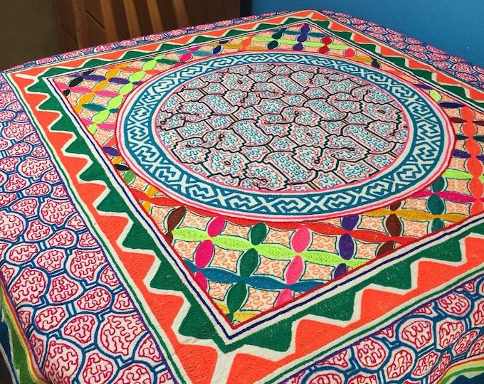"Peruvian hand embroidered Shipibo tablecloth (approx. 53"" x 58"")"