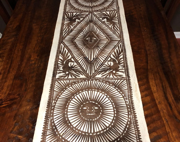 """Large Amate Paper Wall Art with Suns and Birds (15.5"""" x 46.5"""")"""