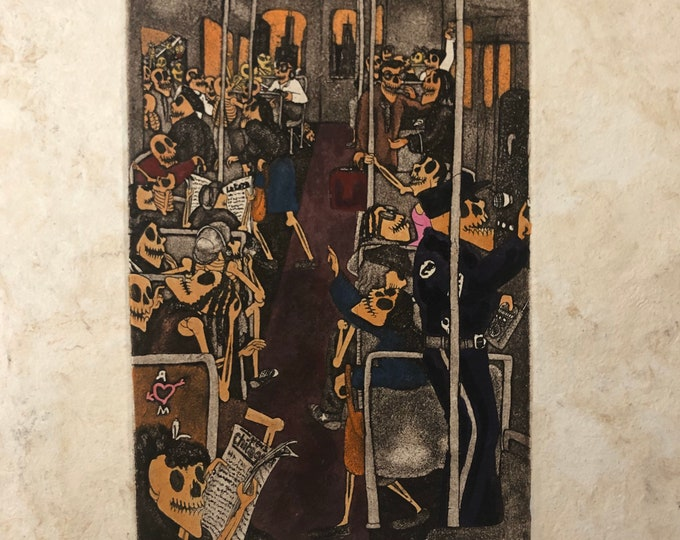 En el Train by Nicolas de Jesus. Artist Proof. Aquatint print on Amate bark paper.