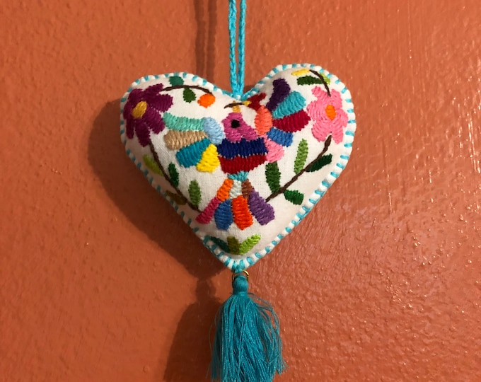 Hand embroidered Otomi heart ornament from Hidalgo, Mexico.