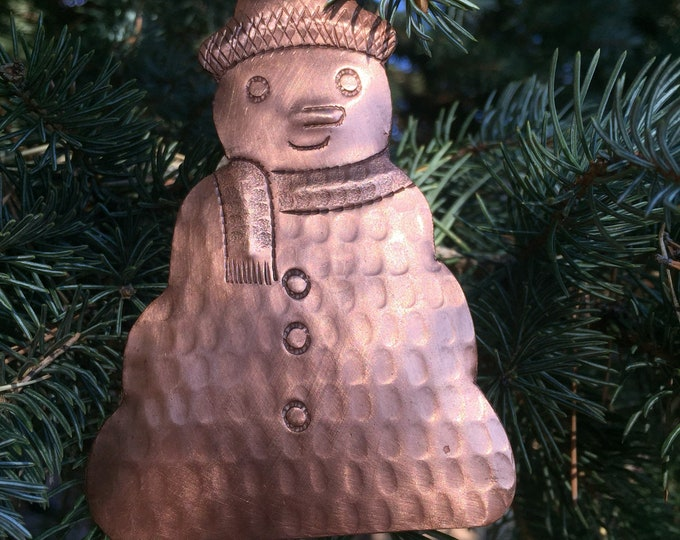 Handcrafted Pure Hammered Copper Snowman Ornament