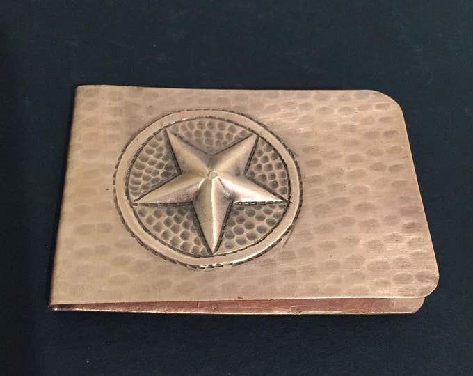 Pure Hammered Copper Money Clip w/ Texas Star