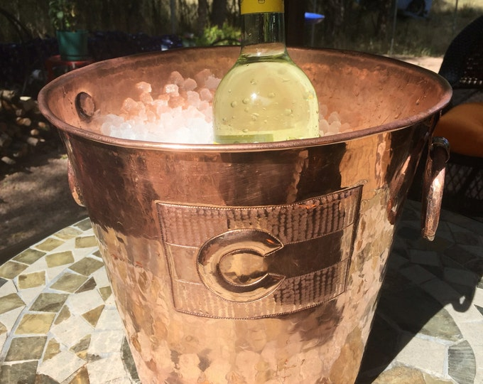 "Hammered Copper wine bottle chiller / ice bucket w/ Colorado Flag (10 1/2"" diameter)"