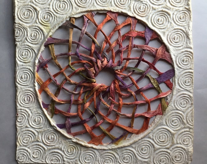 Handmade Amate Paper Wall Art with multicolor woven sphere