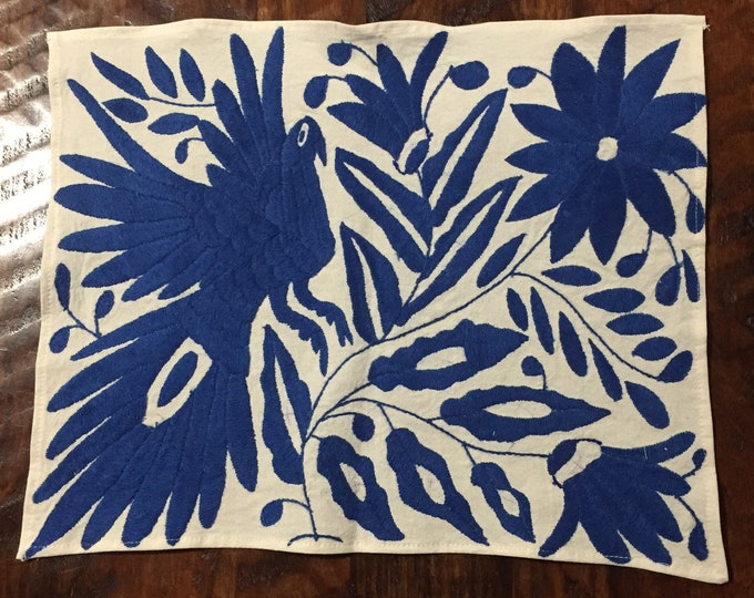 """Hand embroidered Otomí placemat (approx. 17"""" x 13"""") - blue bird and flowers"""