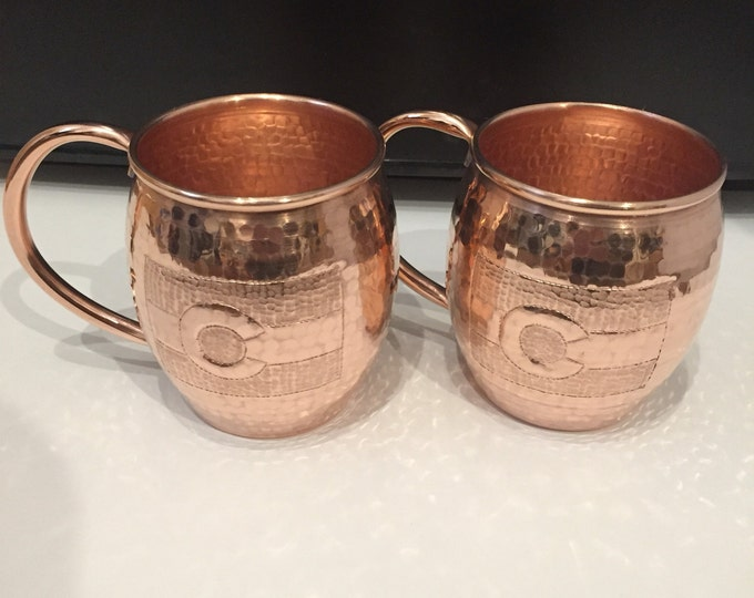 2-pack of 16oz Moscow Mule Hammered Copper Barrel Mugs w/ Colorado Flag