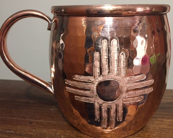 16oz Moscow Mule Hammered Copper Barrel Mug with Zia sun logo