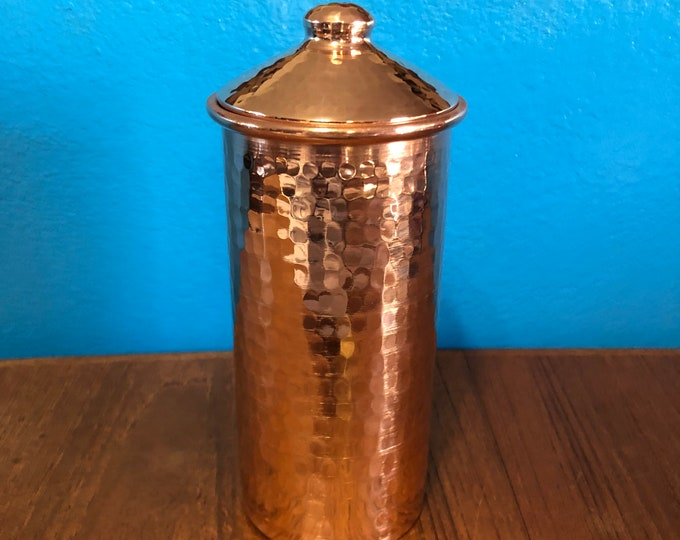 20oz Pure Hammered Copper Tumbler Water Cup with Lid