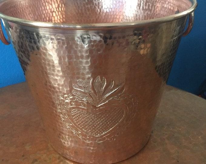 "Hammered Copper wine bottle chiller/ice bucket w/Milagro Heart 10 1/2"" diameter)"