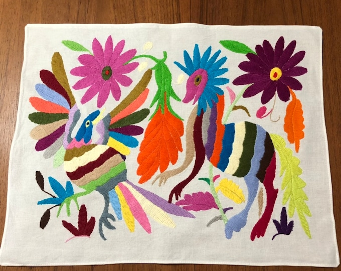 """Hand embroidered Otomí placemat / frame-able art (approx. 17"""" x 13"""") - multicolor spirit animals and flowers"""
