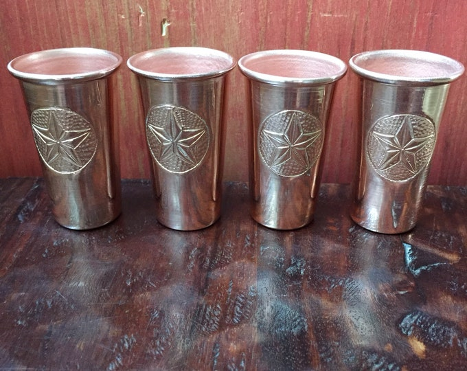 4-pack - 1.5oz Pure Copper Shot Glasses with Texas Star hand engraved logo