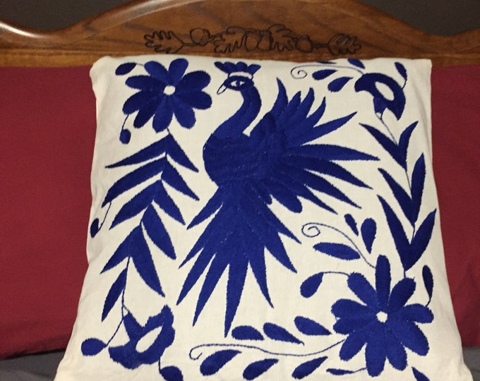 "Otomi hand embroidered 17"" x 16"" pillow case with blue bird and flower design"