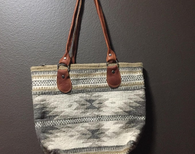 """Zapotec hand woven merino wool purse 15"""" x 13"""" (w x h) with 12"""" leather straps"""
