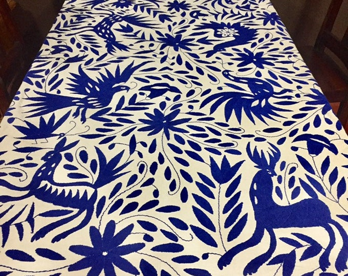 Large Otomí hand embroidered tablecloth / bedspread /  frame-able art /coverlet (approx. 6' x 6') - Blue