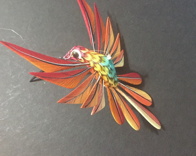 Alebrije Red and Orange Hummingbird by Zeny and Reyna Fuentes