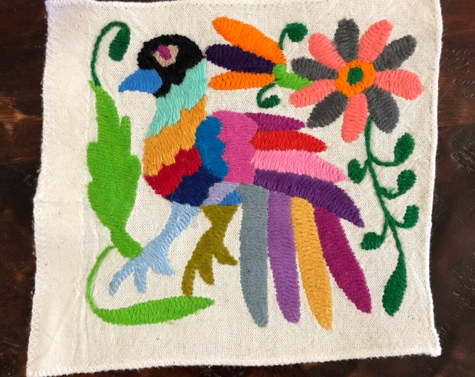"Otomi hand embroidered muslin coaster/cocktail napkin/frame-able art with multicolor bird and flower design (5"" x 5"")"