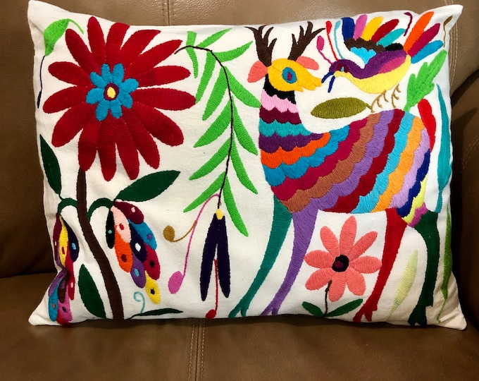 "Otomi hand embroidered approx.16"" x 11"" pillow case with spirit animals and flowers."