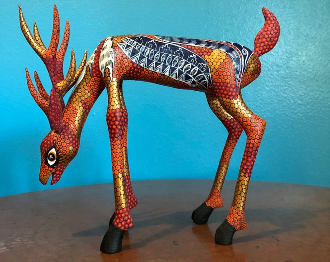Alebrije Deer Handcrafted Wood Carving from Oaxaca, Mexico.