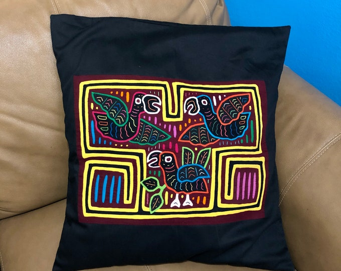 "Hand Stitched Kuna Mola Art Pillow Cover (approx. 19"" x 19"")"