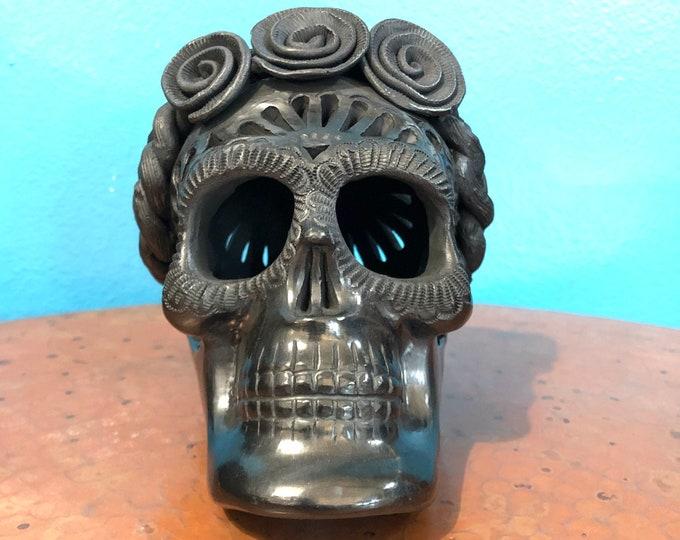 Skull and Roses Barro Negro Black Clay Ceramic Candle Luminary