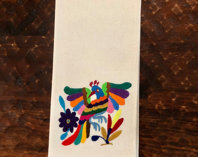 "Otomi hand embroidered muslin napkin with multicolor bird 24"" x 16"""