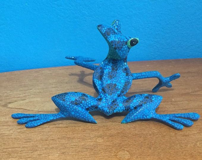 Alebrije Blue Frog Handcrafted Wood Carving by Zeny Fuentes & Reyna Piña from Oaxaca, Mexico.