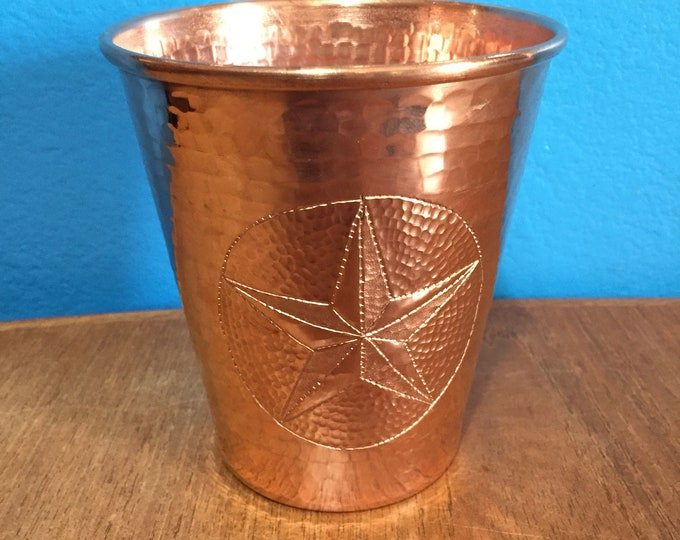18oz Moscow Mule Hammered Copper Tumbler w/ Texas Star engraving, tapered