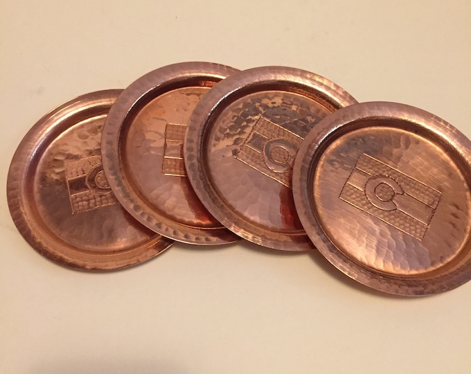 Set of 4 Hammered Copper Coasters w/ Colorado Flag engraving
