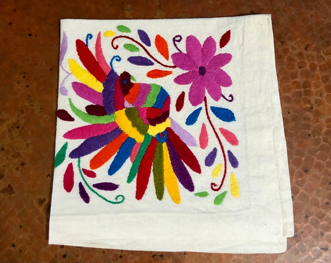 "Otomi hand embroidered 19"" x 19"" muslin napkin - with bird multi-colored"