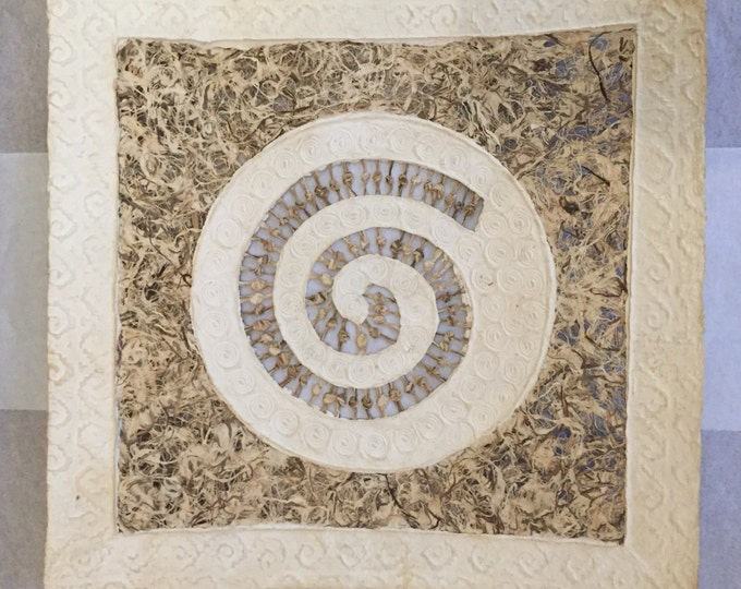 Amate Bark Paper Wall Art with Spiral Design
