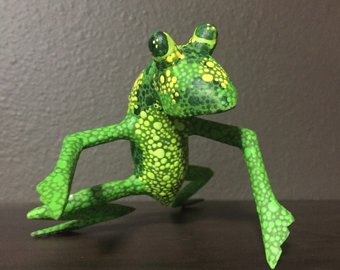 Hand Carved Wood Alebrije Green Frog by Zeny and Reyna Fuentes