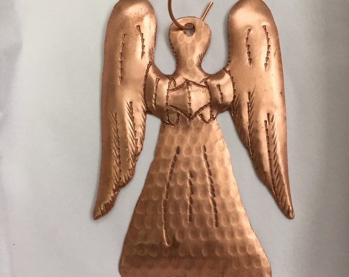 Handcrafted Pure Hammered Copper Angel Ornament