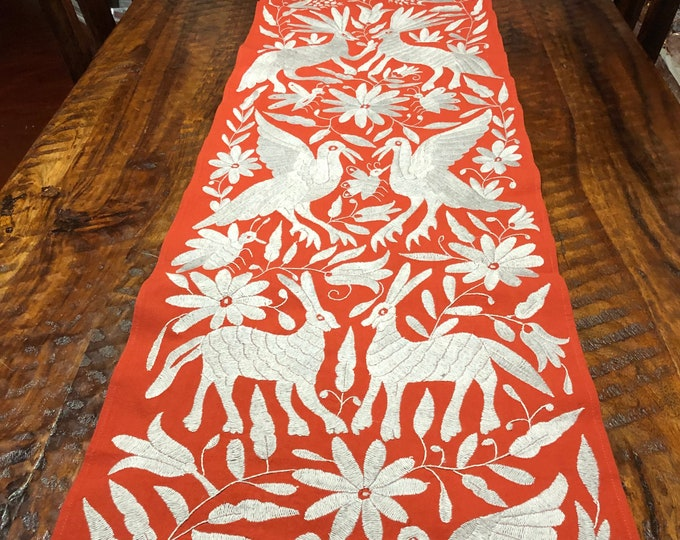 "Mexican Otomi hand embroidered bed scarf / partial coverlet / table runner / frame able art (77"" x 17"") - Gray with Burnt Orange Fabric"