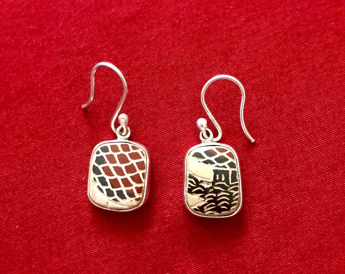 One of a Kind Mata Ortiz Silver Earrings - unique pottery shards set in .950 pure silver handcrafted settings