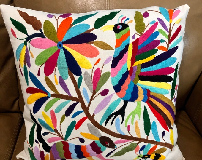 "Otomi hand embroidered 17"" x 17"" pillow case with spirit animals and flowers."