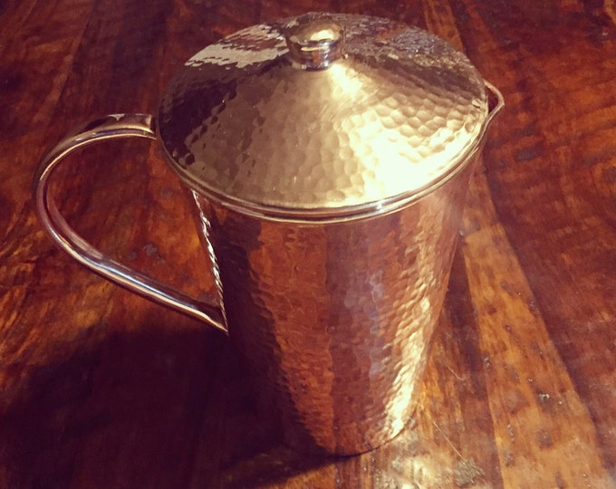 Pure Hammered Copper Pitcher with Lid - 2.5 Liters, 100% pure copper