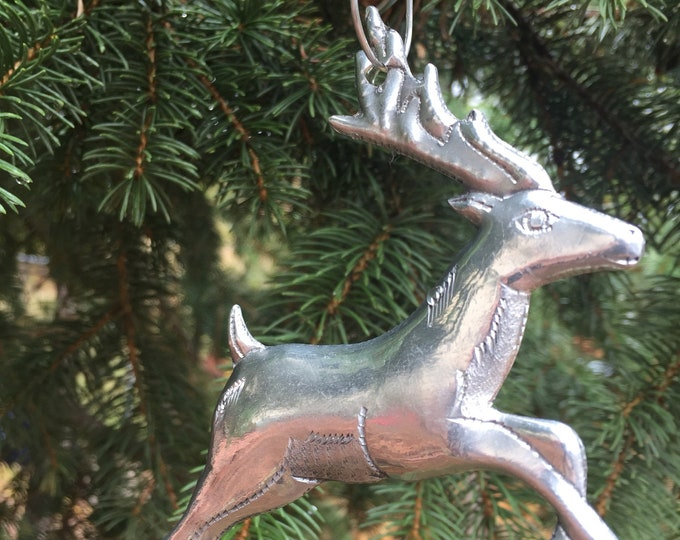 Handcrafted Aluminum Reindeer Christmas Tree Ornament