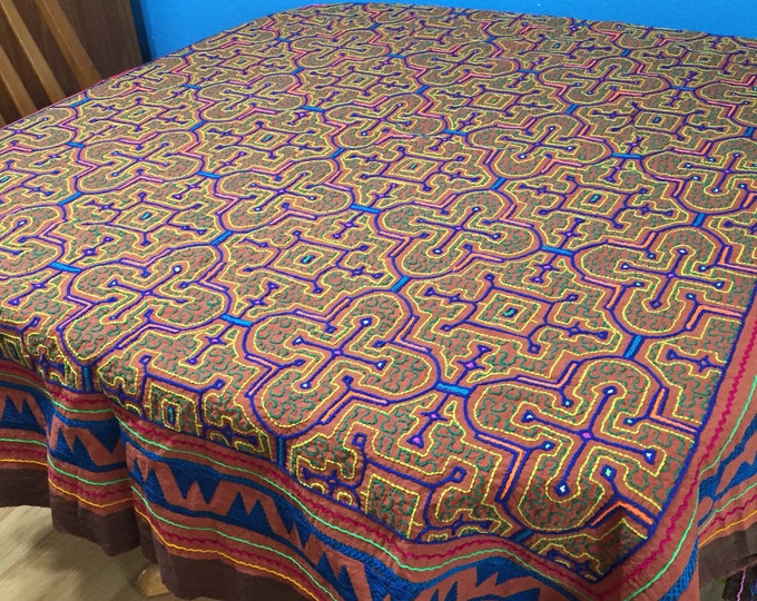 "Peruvian hand embroidered Shipibo tablecloth (approx. 50"" x 56"")"