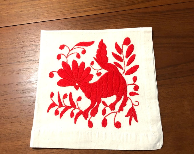 "Otomi hand embroidered 19"" x 19"" muslin napkin with rose red spirit animal."