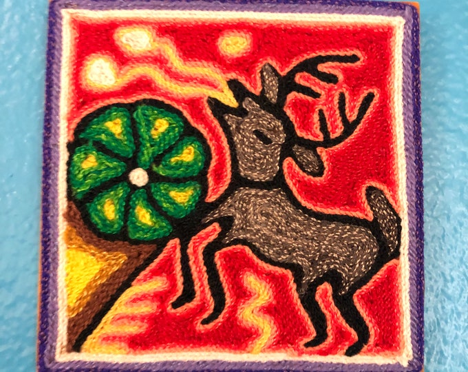 "Huichol Yarn Painting from Nayarit, Mexico (4"" x 4"")"