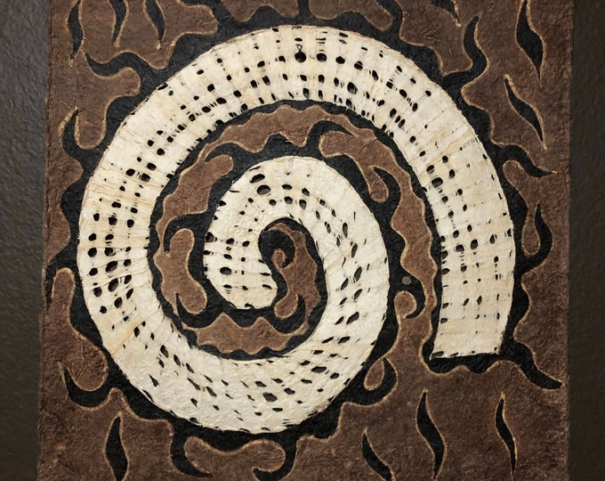 Handmade Amate Paper Wall Art with Spiral from Mexico