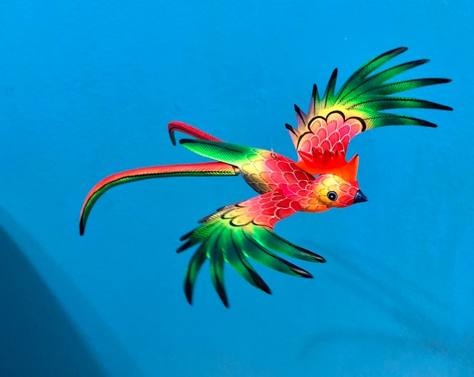 Alebrije Exotic Quetzal Bird Wood Carving by Reyna Peña and Zeny Fuentes