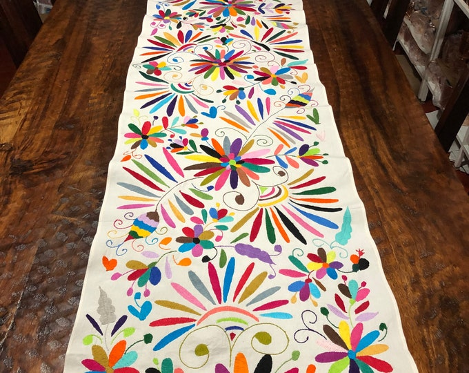 """Otomi Hand Embroidered Table Runner / Bed Scarf /  Frame-able Art with Multi-color Embroidery (approx. 76"""" x 17.5"""")"""