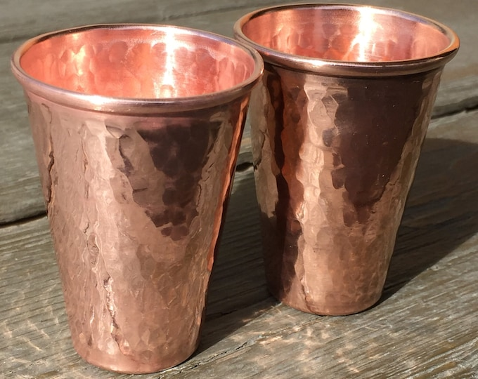 2-pack of 3oz pure hammered copper shot glass