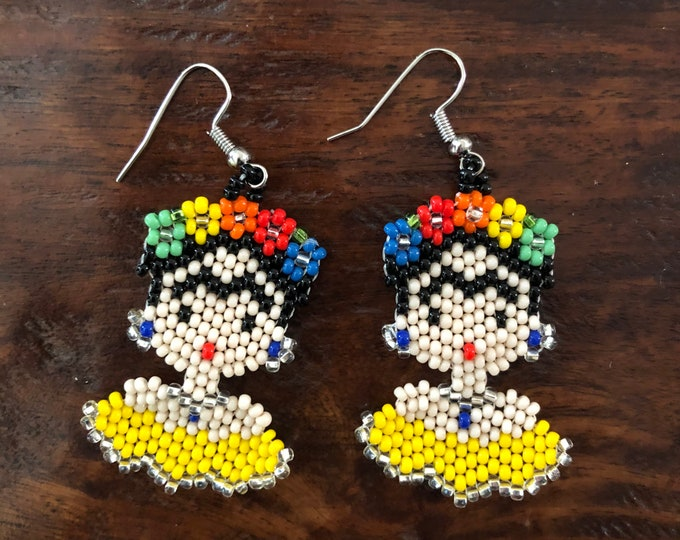Colorful Chaquira Beaded Frida Kahlo Drop Earrings